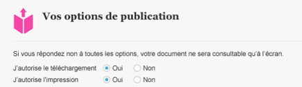 Choice of publication options